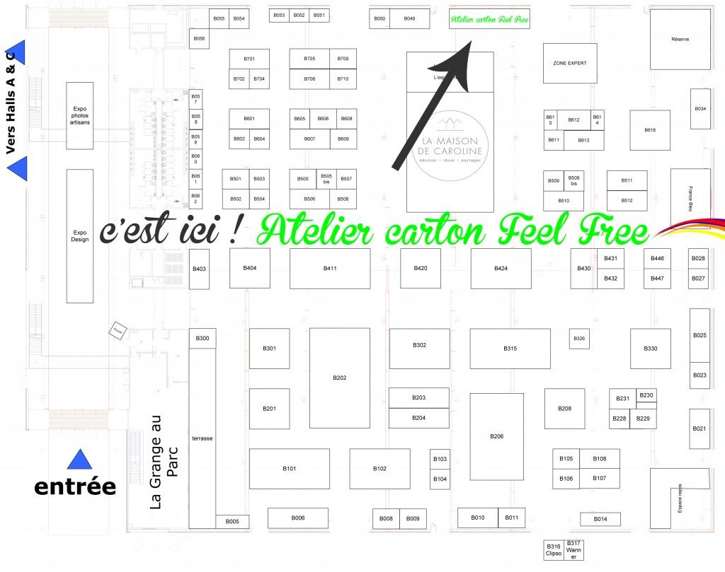 Plan de localisation Atelier Feel Free au salon de l'habitat et de la décoration à Metz 2015